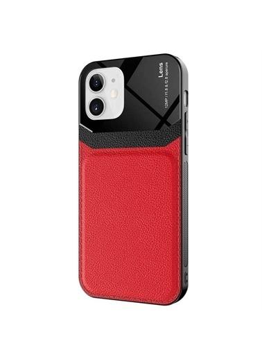 Microsonic Apple İphone 12 Kılıf Uniq Leather Siyah Kırmızı